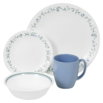 Corelle Country Cottage 16pc Dinner Set - 4 dinner plates, 4 bread & butter plates, 4 cereal bowls and 4 plain blue stoneware mugs (Mugs not under Corelle Warranty)
