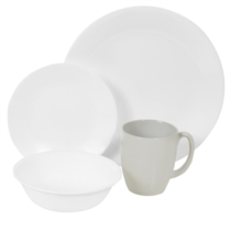 Corelle Winter Frost White 16pc Dinner Set - 4 dinner plates, 4 bread & butter plates, 4 cereal bowls and 4 stoneware mugs (Mugs not under Corelle Warranty)