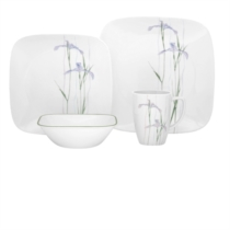 Corelle Shadow Iris Square 16pc Dinner Set -  4 dinner plates, 4 luncheon plates, 4 cereal bowls and 4 porcelain mugs (mugs not under Corelle warranty