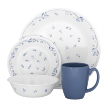 Corelle Provincial Blue 16pc Dinner Set - 4 dinner plates, 4 bread & butter plates, 4 cereal bowls and 4 stoneware mugs (mugs not under Corelle warranty)