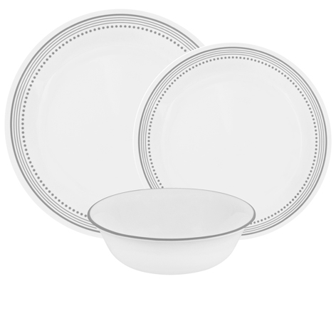 Corelle Mystic Gray 12pc Dinner Set - 4 dinner plates, 4 luncheon plates and 4 cereal bowls