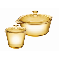 Visions 4Pc Flair Casserole and Cookpot Pot Set - 1 x 1.2L and 5.5L Cookpot With Glass Covers
