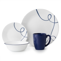 Corelle Lia 16pc Dinner Set - 4 dinner plates, 4 bread & butter plates, 4 cereal bowls and 4 stoneware mugs