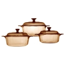 Visions 6pc Versa Pot Set With 0.8L & 1.25L and 2.25L Versa Pots and with glass covers.